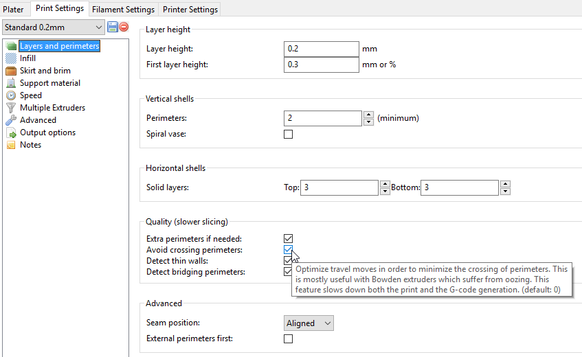 Slic3r Print settings, avoid crossing perimeters