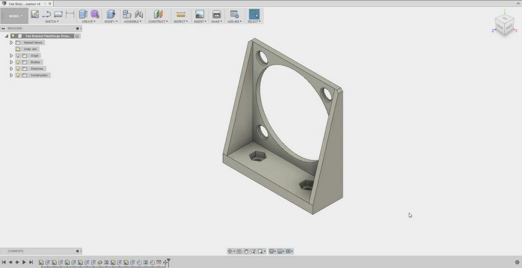 Flashforge Dreamer Modified Fan Bracket Fusion 360