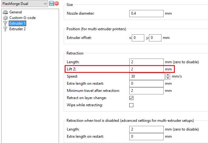 Slic3r Extruder settings, Lift Z