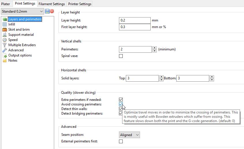 Slic3r Print settings, avoid crossing perimeters