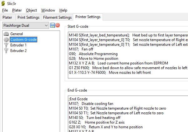 Slic3r custom G-code fields