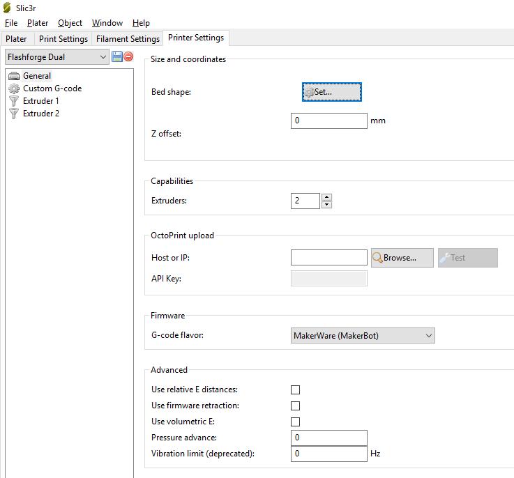 Slic3r general printer settings