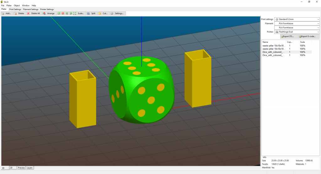 Dice with scaled pillars